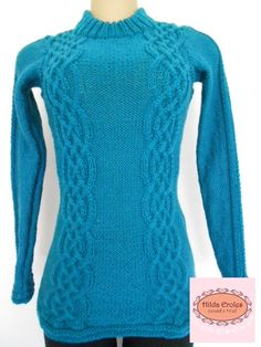 Blusa lã azul turquesa
