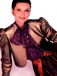 Mrs. Audrey Hepburn photographed by Jacques Malignon for the American Harper's Bazaar, edition of September 1981.    -Audrey was wearing creations of Givenchy Nouvelle Boutique (jacket, blouse, skirt and earrings).