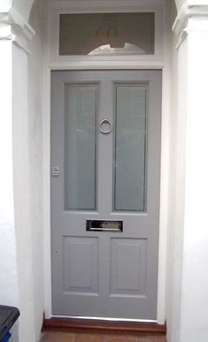 Victoian Door With Etched Glass And Raised Panels Victorian, Edwardian And Georgian Doors External Doors Bespoke period wooden,Victorian Edwardian and Georgian style Front doors and Sash windows,Supplied and fitted across London and the home counties Front Door Numbers, Front Door Porch, Grey Front Doors, House Front Door, Front Door Colors, Glass Front Door, House Entrance, Entrance Doors, Glass Doors