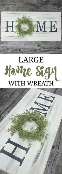 I love home signs with wreaths! The hard part is trying to decide which one I like best. This one is uniquely distressed to have a shiplap look. Large home sign with wreath, wooden sign, farmhouse sign, farmhouse wreath, pallet sign, rustic sign, fixer up