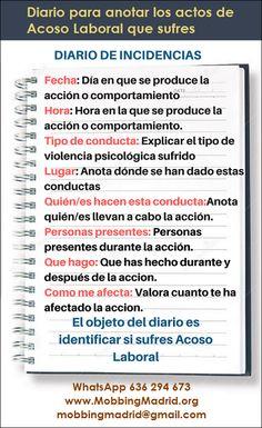 Mobbing Madrid PRIDICAM: Diario para anotar los actos de Acoso Laboral que ... You Better Work, Teamwork, Behavior, Psychology, Messages, Thoughts, Carrera, Orlando, Nursing