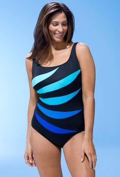 SwimsuitsForAll - Longitude Longitude Blue Leaf Tank Swimsuit - AdoreWe.com