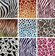 vector animal skin pattern textures of tiger, zebra, giraffe, leopard, cow and cheetah colorful prints Vector Pattern, Pattern Art, Pattern Design, Tatuajes Animal Print, Textures Patterns, Print Patterns, Flora Und Fauna, Animal Print Wallpaper, Clip Art