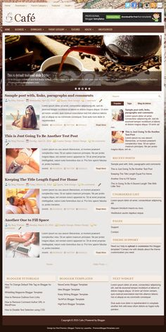 Cafe is a Restaurant Responsive Blogger Template with 2 Columns Layout. Cafe Blogger Template has a Image Slider, 2 Top Navigation Menus, 468x60 Header Banner, Related Posts, right Sidebar, Breadcrumb, 3 Columns Footer, Tabbed Widget, Social and Share Buttons, Google Fonts and More Features.  http://www.premiumbloggertemplates.com/cafe-blogger-template/