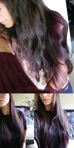 dark brown and plum hair. Plum colour is underneath the shorter brown layers.