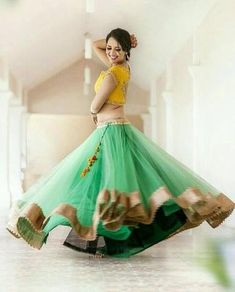 Designer Lehenga with zari borders. Lehenga with 6 Meter flare. Comes with mustard color choli with thread embroidery. Net dupatta with zari lining. Can be made in any color and sizing. Perfect to wear at the Weddings and special occasions. Bollywood Lehenga, Lehenga Choli Online, Lehenga Saree, Bridal Lehenga, Bollywood Fashion, Anarkali, Bollywood Style, Plain Lehenga, Sari