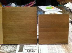 My sample board, side by side with the sample from RH, Restoration Hardware. A very close match. Looks even closer in person. Color is nearly perfect match. Only difference really is in the grain.