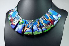 Snow Gums, polymer clay necklace by Wendy Jorre de St Jorre.