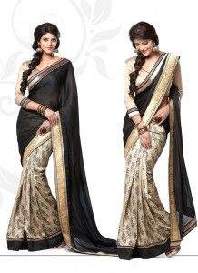 Exotic Black & Beige Manipuri Jacquard & Satin Georgette Party Wear Saree http://www.wholesalesalwar.com/sarees?catalog=vogue-1033