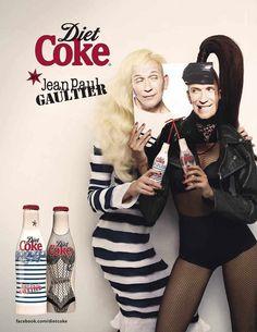 Garrafas desenhadas pelo estilista Jean Paul Gaultier para a Diet Coke - Coca Cola