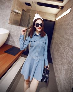 Fashion New Stylish Lady Women Turn Down Neck Long Sleeve Front Button Pockets Denim Casual Party Slim Mini Pleated Dress
