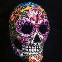 Sugar Skull Mask Day Of The Dead Dia De Los Muertos Roses Leopard Tattoo Art