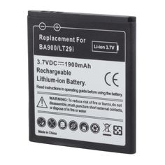 1900mAh Replacement Black Battery for SONY BA900 Smartphone