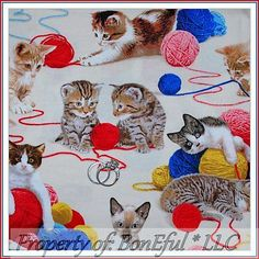 BonEful Fabric FQ Cotton Quilt Shamash VTG OOP Kitten Feline Kitty Cat Yarn Ball Cat Fabric, Yarn Ball, Cotton Quilts, Baby Items, Kitten, Fabrics, Scrapbooking, Kids Rugs, Cats