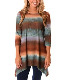 Look what I found on #zulily! Brown & Blue Abstract Stripe Sidetail Tunic #zulilyfinds