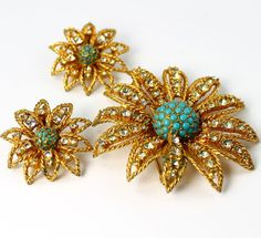 Vintage Hattie Carnegie Rhinestone Flower Brooch and Earrings Set | eBay