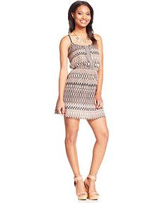 Trixxi Juniors' Printed Cutout A-Line Dress - Juniors Dresses - Macy's