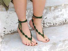 Green Leaf Barefoot Sandals