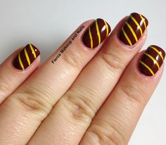 Nails inspired by Gryffindor House. The #squarehue #EndlessSummerCollection would be great for this art!