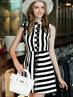 SheIn offers White Black Striped Stand Collar Sleeveless Dress & more to fit your fashionable needs. Colourful Outfits, Colorful Fashion, Frock Fashion, Fashion Dresses, Cheap Dresses, Casual Dresses, Sweet Dress, Lovely Dresses, Cotton Dresses