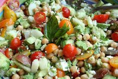 Tomato, Chickpea, Cucumber, Avocado and Feta Salad with Basil Dressing