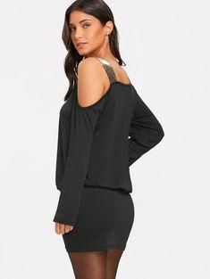 7792b5b2105 Gamiss женское черное облегающее платье с длинным рукавом