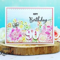 Our nana is gonna be 90 soon so I made this card for her. 💖 Inspired by @amyrysavy I did the first layer of coloring by putting #distressinkpads directly to paper and then misting water over it! For the second layer and the blue sky I used a paint brush as usual. ☺ . . Used products: @honeybeestamps #zenbouquet, #happyeverything, free bee stamp and #doublestitched rectangles. . Honey Bee Stamps, Happy Everything, Ink Pads, Watercolor Cards, Paint Brushes, I Card, Two By Two, Coloring, Bouquet