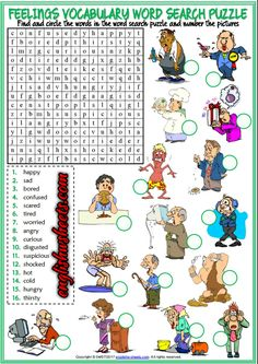 Feelings Emotions Esl Printable Word Search Puzzle Worksheets For Kids