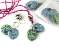 Moorish Revival - some of my ceramic clay charms, www.ejrbeads.co.uk
