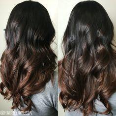 Balayage dark hair, chocolate brown hair, ombré, brunette hair, curls, long…