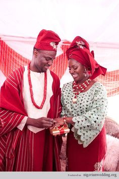 Nigerian Wedding Colors: Aso-Oke Color Matching Ideas For Traditional Engagement Ceremony African Traditional Wedding, Traditional Wedding Dresses, Traditional Outfits, Traditional Weddings, Traditional Styles, Nigerian Wedding Dress, Nigerian Weddings, African Weddings, African Lace Styles