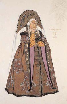 Design for the Costume of Babarikha (the Matchmaker) in Rimsky-Korsakov's Opera 'Tsar Saltan', 1928. Ivan Bilibin.