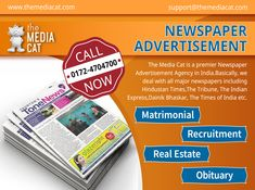 Book Newspaper advertisement at the lowest cost through the best Newspaper Advertising Agency. You can online publish your ads in all the famous newspapers.