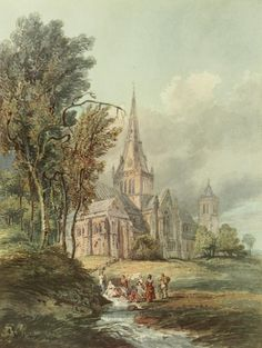 Glasgow Cathedral by Thomas Girtin - one of over 500 beautiful illustrations available on our Scotland public domain image DVD. Click on the picture for more details.
