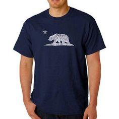 Los Angeles Pop Art Men's T-shirt - California Bear, Size: Medium, Blue