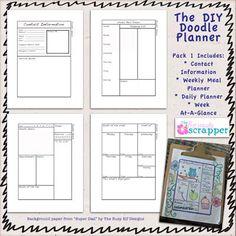 the diy doodle planner pack via e-scapeandscrap.net
