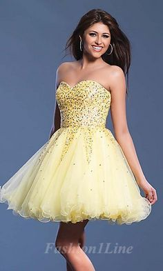 homecoming dress--- i love everything about this dress!!! I wonder if yellow looks good on me???