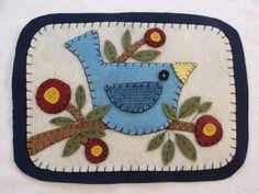 Primitive Penny Rug candle mat table mat Folk Art Blue Bird and Branch