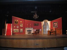 Grand staircase (load bearing) and desk Stage Set Design, Set Design Theatre, Annie Play, Cool Mansions, Mary Poppins Musical, Annie Musical, The American School, Stage Props, Guys And Dolls