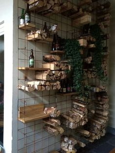 armeringsjärn Gabion Wall, Interior And Exterior, Interior Design, Inspiration Wall, Wine Storage, Farmhouse Chic, Wine Cellar, Beautiful Gardens, Decoration