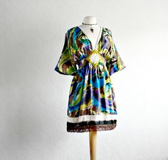 Women's Kimono Style Silk Dress Empire Waist Bohemian Clothing Abstract Print Boho Chic S/M