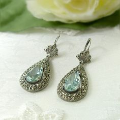 Vintage Marcasite Earrings With Paste Aquamarine МАРКАЗИТ