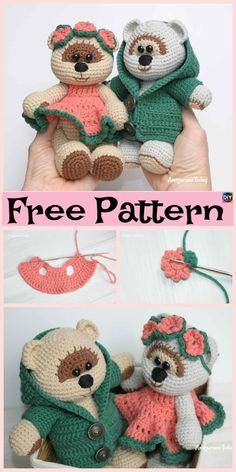 Sweet Crochet Teddy Bear – Free Patterns #freecrochetpatterns #teddybear #giftidea