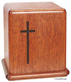 Mahogany Cremation Urn with Cross
