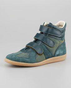 Three-Strap High-Top Sneaker, Green