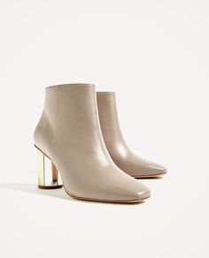 Image 2 of LEATHER ANKLE BOOTS WITH METAL HEEL from Zara