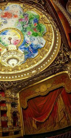Opéra Garnier, Paris, France ~ The ceiling painted by Marc Chagall (Photo copyright: A. Photographie) by jan Paris France, Paris 3, I Love Paris, Marc Chagall, Amazing Architecture, Art And Architecture, Paris Opera House, Saint Michael, Louvre