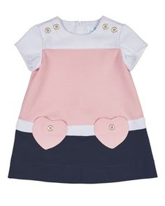Short-Sleeve+Stretch+Crepe+Colorblock+Dress,+Pink/Navy,+Size+2-6+by+Florence+Eiseman+at+Neiman+Marcus.