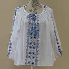 Women's Clothing Boho Tunic Top White With Blue Design Cotton Shirt 1970's Style Boho Fashion Size Small by SuesUpcyclednVintage on Etsy
