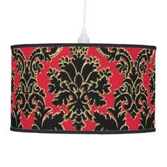 Vintage Inspired Red, Black and Gold Damask Lamp   #damask #red #hanging+lamp